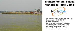 Transporte Fluvial em Balsas Manaus x Porto Velho e Porto Velho x Manaus