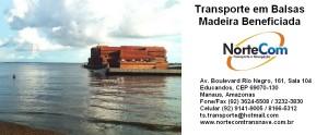 Transporte de madeiras beneficiadas em balsas